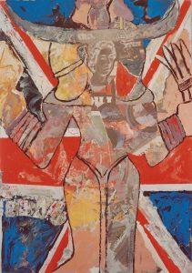 Astarte II, 60x80 cm (m. R.), Gouache + Collage a. Papier a. Holz,