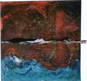 Schöpfungsmythos -Über der Tiefe, 80x80 cm Acryl, Fundstücke auf Holz (Assemblage), 2008