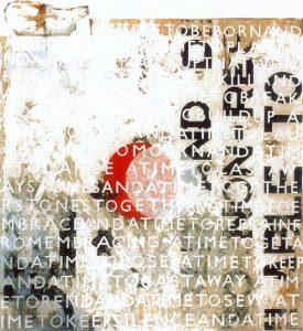 Winterreise - Die Nebensonnen, ca. 100x100 cm, Acryl, Collage auf Holz (Assemblage), 2008