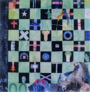 Winterreise - Die Kammern all besetzt, 90x90 cm, Acryl, Collage, Fundstück auf Holz, 2006