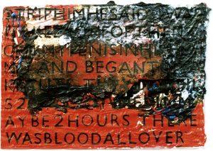 Winterreise - Vom Abendrot zum Morgenlicht, ca. 60x80 cm, (m. R.), Acryl, Collage (a. Papier?) a. Holz, 2006