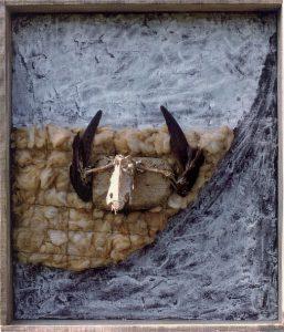 Winterreise - Die Krähe, ca. 70x80 cm, Acryl, div. Materialien a. Holz, ca. 1998