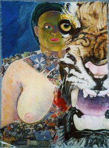 Frau u. Tiger, 60x80 cm, Gouache + Collage a. Papier a. Holz 2011