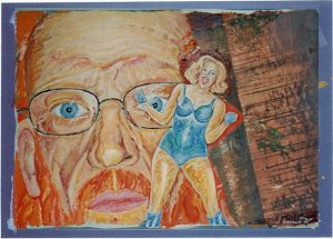 "Wald in Flammen, ""ca. 40x60 cm i. R. 60x 80 cm"", Gouache, Collage a. Papier, 2010"