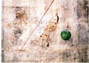 ein lüstiger Baum, 60x80 cm, Gouache, Fundstück, Collage auf Holz 2007