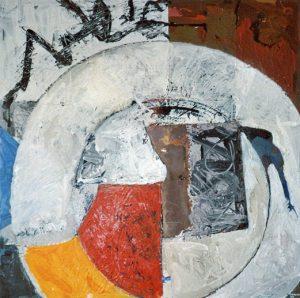 Schöpfungsmythos - Erster Morgen, 80x80 cm, Acryl, Schieferplatte auf Holz, 2007