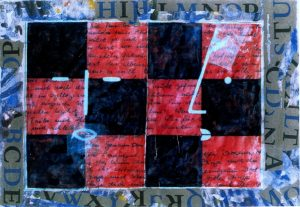 Selbstbetrachtung, ca. 44x63 cm, i. R. 60x80 cm Mischtechnik a. Papier, ca. 2002
