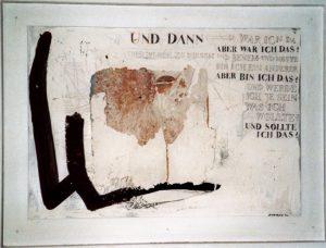 Aber bin ich das?, ca. 50x70 cm i. R. Ca. 60x80 cm Handgesch. Papier, Mischtechnik, 2004