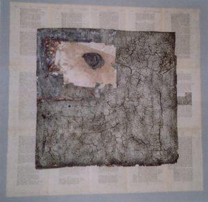 Schöpfungsmythos - Verflucht sei der Acker, 80x80 cm, Material-Collage, ca. 2