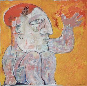 Herkules, 80x80 cm, Acryl, Collage a. Papier a. Holz 2002