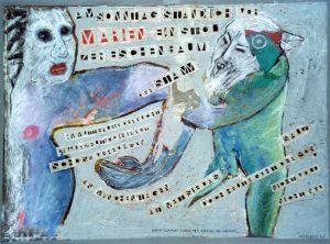 Marien. ca. 80x60 cm, Pastell, Gouache, Collage a. Papier a. Holz, ca. 2013