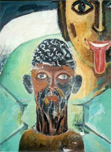 Göttinnen: Kali I, 80x60 cm, Acryl + Gouache a. Holz, ca. 2013