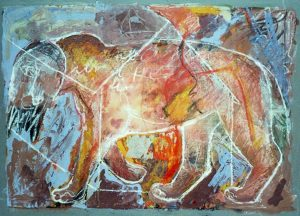 Wächter Mein Haus, 80x60 cm, Gouache (+Pastell) a. Papier, ca. 2013