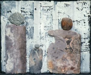 Exodus Asylum Seekers, ca. 70x60 cm, Acryl, Schiefer, Stein, Holz a. Holz, 2013/14