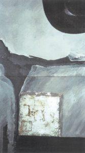 O und die Nacht, die Nacht, wenn der Wind voller Weltraumuns am Angesicht zehrt (1. Elegie) GouacheFundstückauf Holz65 x 110 cm