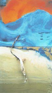 Denn das Schöne ist nichts als des Schrecklichen Anfang (1. Elegie) AcrylBlattmetallFundstück 65 x 110 cm