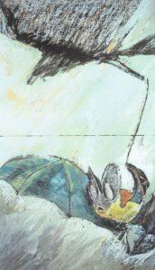 Wie vor sich selbst erschreckt, durchzuckts die Luft, wie wennein Sprung durch eine Tasse geht. So reißt die Spur derFledermaus durch Porzellan des Abends.(8. Elegie) Mischtechnikauf Holz 65 x 110 cm
