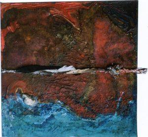 Über der Tiefe,80x80 cm,Acryl, Fundstücke auf Holz (Assemblage),2008
