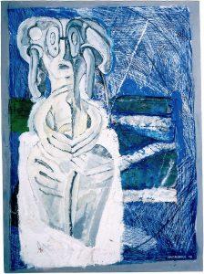 Astarte VI, 60x80 cm, Gouache u. Collage a. Papier a. Holz, 2010