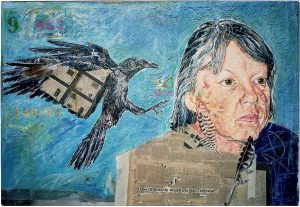 thy sorrow,60x80 cm,Gouache, Collage a. Papier a. Holz, 2007