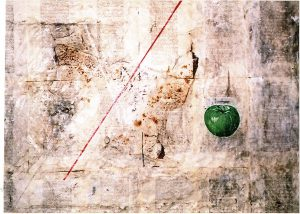 Ein lüstiger Baum, 60x80 cm, Gouache, Fundstück, Collage auf Holz, 2007