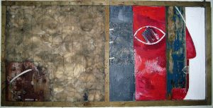 MEDIUM No. 218 Blackedge REXEL, 50x100 cm, Acryl, Assemblage auf Holz, ca.1998