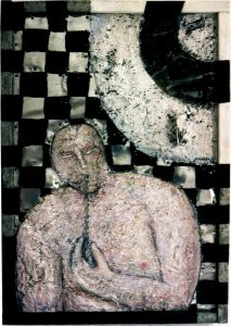 undercurrent 45x66 cm Acryl, Zement, Assemblage a. Holz ca. 1997
