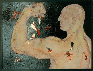 1000 V 60x80 cm Acryl, Spiegelscherben ca. 1998