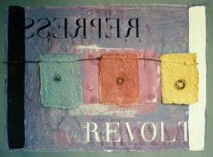 Fahne ca. 60x80 cm Handgeschöpftes Papier, Assemblage, Acryl ca. 1990