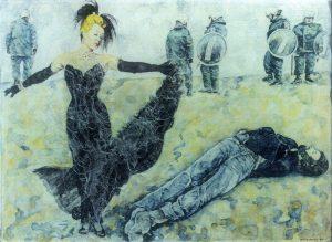 Die lustige Witwe von Brokdorf,ca.30x40 cm, Aquarell ca. 1983