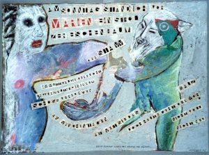 Marien, ca. 80x60 cm, Pastell, Gouache, Collage a. Papier a. Holz, ca. 2013