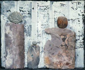 Asylum Seekers,ca.70x60 cm, Acryl,Schiefer, Stein, Holz a. Holz2013/14