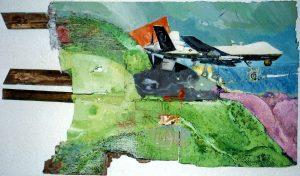 Gaia mit Drohne, ca. 60x90 cm, Gouache, Schiefer a. Fundholz, 2014